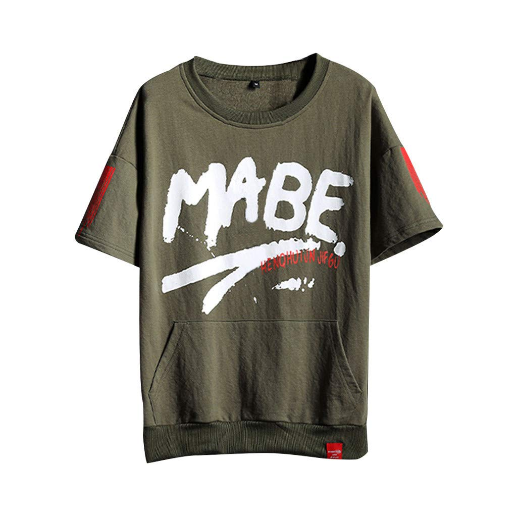 Zackate Men's Letters Printing Loose T-Shirts Short Sleeves Tee Shirt for Men Hip Hop Top with Pocket Green