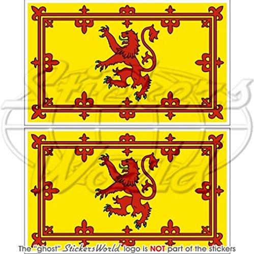 Écosse Royal Standard Lion 10,2cm Drapeau écossais (100mm) en vinyle Bumper Stickers, Stickers x2 StickersWorld