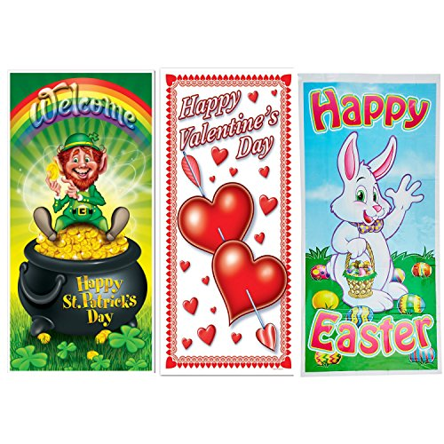 Beistle Spring Holiday Door Covers | St Patrick's Day, Valentines Day and Easter Door Cover Decorations - 5 Feet x 30 Inches
