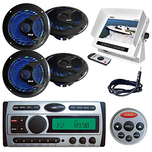 Hydra Series Marine (New PLDMR87 1.5-Din Marine Waterproof AM/FM CD/DVD/MP3 Radio Receiver + Remote 4 X Pyle 6.5