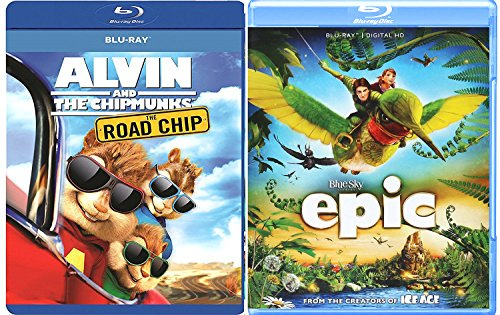 Epic + Alvin & the Chipmunks: The Road Chip Blu Ray Animated Bundle Cartoons movie Set