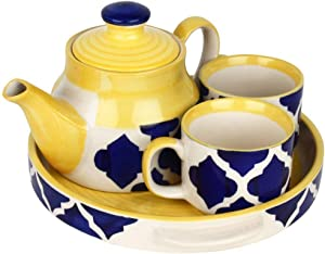Creativegifts Ceramic Blue Handcrafted Cups & Kettle Gift Set Of 2 Ceramic cups, 1 kettle and 1 tray- Kitchen/Microwave Safe/Crockery/Gift Set/House Warming- 150ml each
