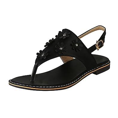 YE Damen Zehentrenner T Strap Sandalen Flach Sandaletten mit Blumen Süß Braut Sommer Schuhe UeDgk