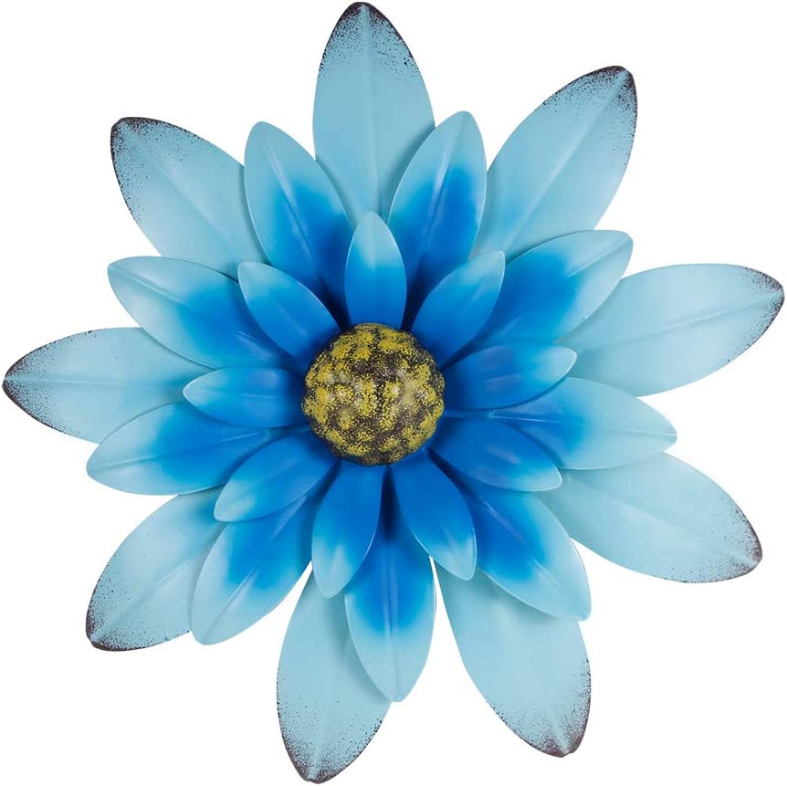 "Farmhouse Wall Decor, Hanging Rustic Metal Flower For Wall, 12"" Blue Multiple Floral Wall Decorations For Indoor And Outdoor"