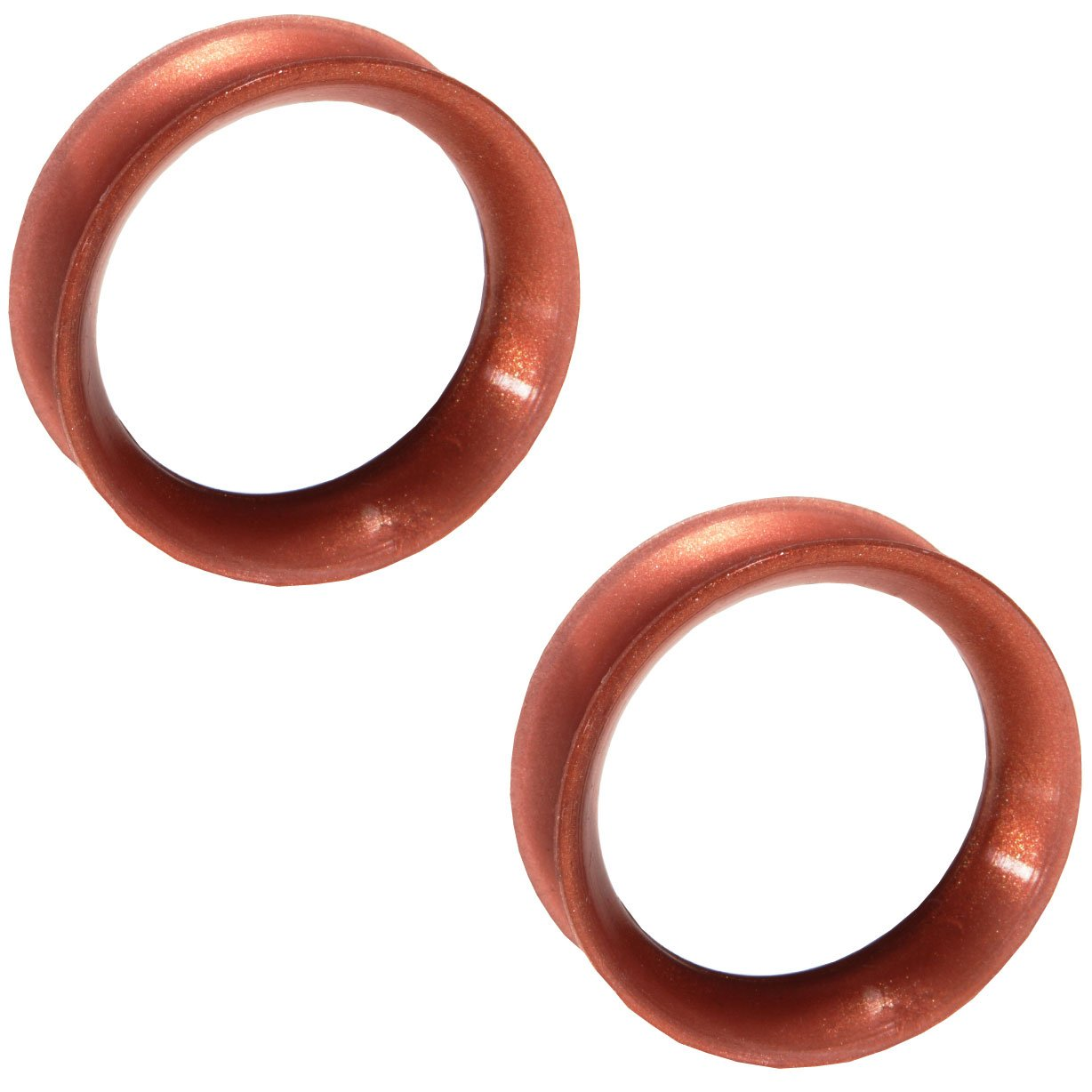 Pair of Metallic Silicone Double Flared Skin Eyelets: 3'', 3/8'' wearable, Copper by Steel Navel Body Jewelry