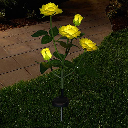 XLUX New Material Outdoor Realistic Solar Powered Rose Lights Flower Stake, for Garden Patio Yard Pathway Decoration, Yellow