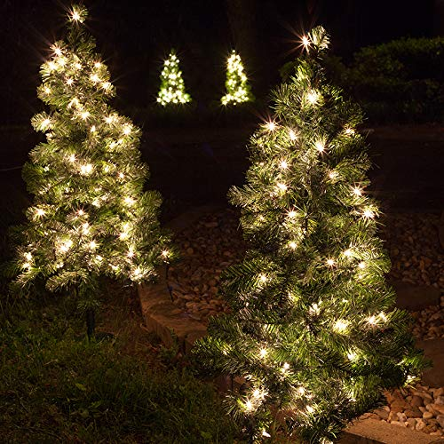 Pathway Christmas Trees With Lights