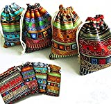 Good News 16 Pcs Egyptian Style Jewelry Coin Pouch Print Drawstring Gift Bag Cotton