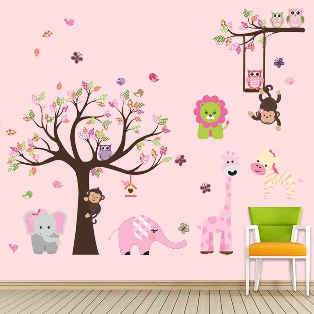 Supzone Jungle Tree Wall Stickers Pink Animal Wall Decals Removable for Girls Children's Room Nursery Bedroom Classroom Wall Decor