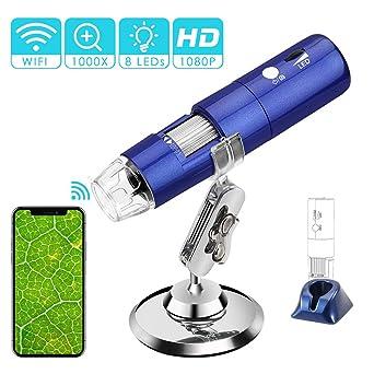 Rotek Usb Wifi Mikroskop Digital Mikroskop 2 Mp Kinder Mikroskop Kamera 1000x Zoom 1080p Full Hd Mit 8 Led Mini Mikroskop Für Kinder Für Handy Iphone Ios Android Ipad Pc Windows Mac