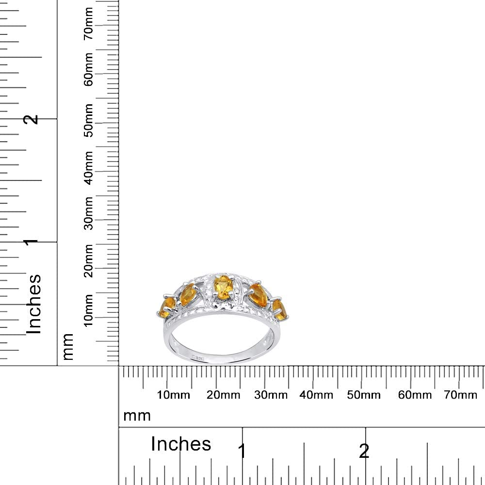 0.69 Ctw Oval Yellow Citrine 925 Sterling Silver Birthday Gifts Engagement Ring For Women By Orchid Jewelry