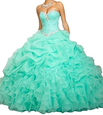 BanZhang Womens Quinceanera Dresses Prom Dress Beaded Cheap Ball Gown Jacket B314 Aqua 2