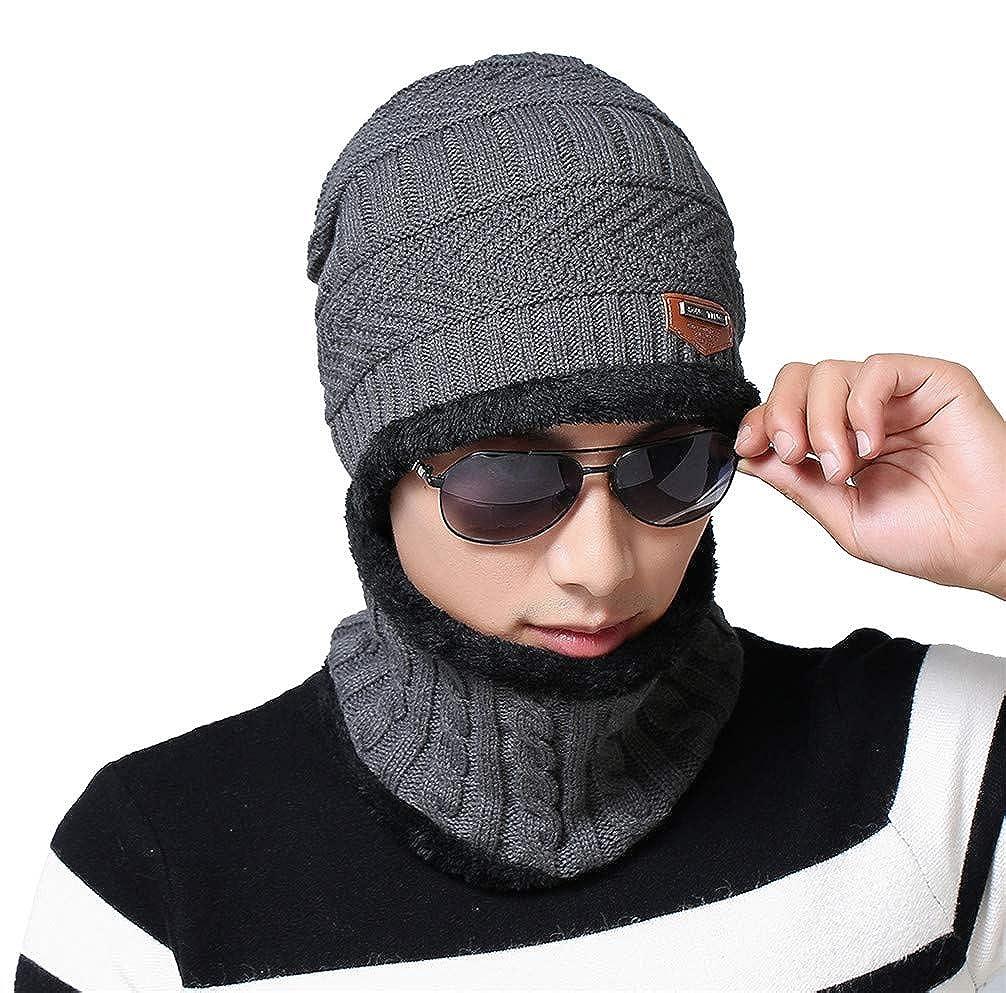 FLYCHEN Scaldacollo Invernale Multifunzione Unisex Set da 2 pezzi Cappello in pile multicolore Sciarpa Tubolare Antivento da Uomo e Donna FLEUM011kqD4-MN