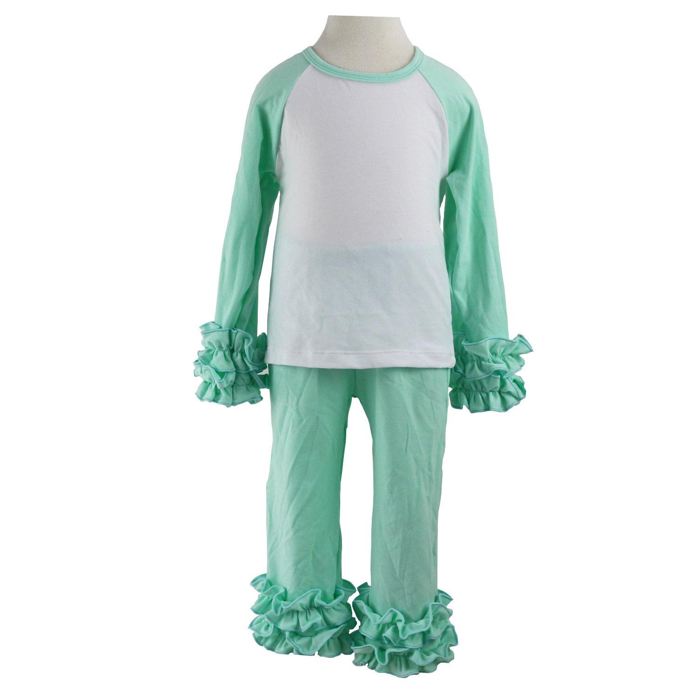 94d513407 Amazon.com: Wennikids Children Baby Cotton Icing Ruffle Shirt Ruffle  Sleeved Raglan Pants Set: Clothing