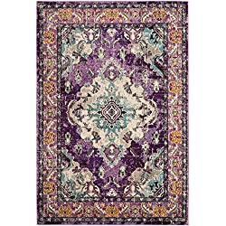 Safavieh Monaco Collection MNC243L Vintage Bohemian Violet and Light Blue Distressed Area Rug (3' x 5')