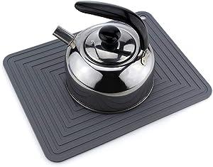 Silicone Pot Mat, Heat Resistant Trivet, 11.4 x 9.06 Inch Pot Holder, Gray Color for Hot Pot, Pans, Stockpots, Kitchenwares