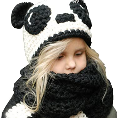 3ac5009b7a5 Image Unavailable. Image not available for. Colour  COMVIP Toddler Panda  Cartoon Knitted Hooded Scarf Beanies Cap Set Black