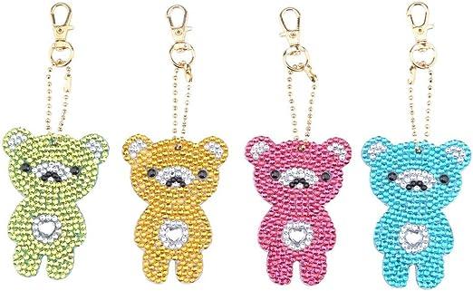 4pcs//set DIY Full Drill Diamond Painting Cartoon Animal Key Chain Jewelry