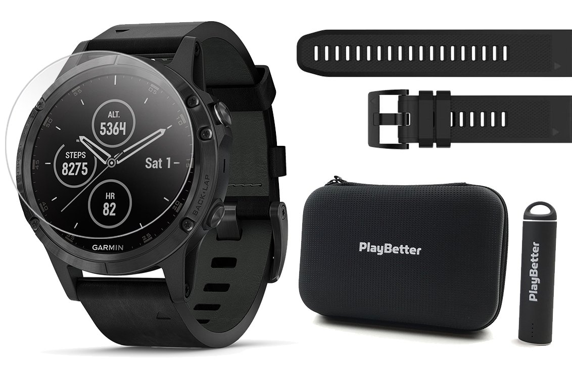 Garmin fenix 5 Plus+ Sapphire Bundle | Extra Band, Screen Protectors, PlayBetter Portable Charger & Protective Case | Multisport GPS Watch, TOPO Maps, Garmin Pay, Music (Black with Black Leather Band)
