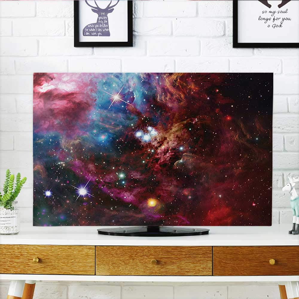 Leighhome Cord Cover for Wall Mounted tv Nebula with Star Cluster in The Cosmos Universe Solar Celestial Zone Teal Red Pink Cover Mounted tv W35 x H55 INCH/TV 60'' by Leighhome