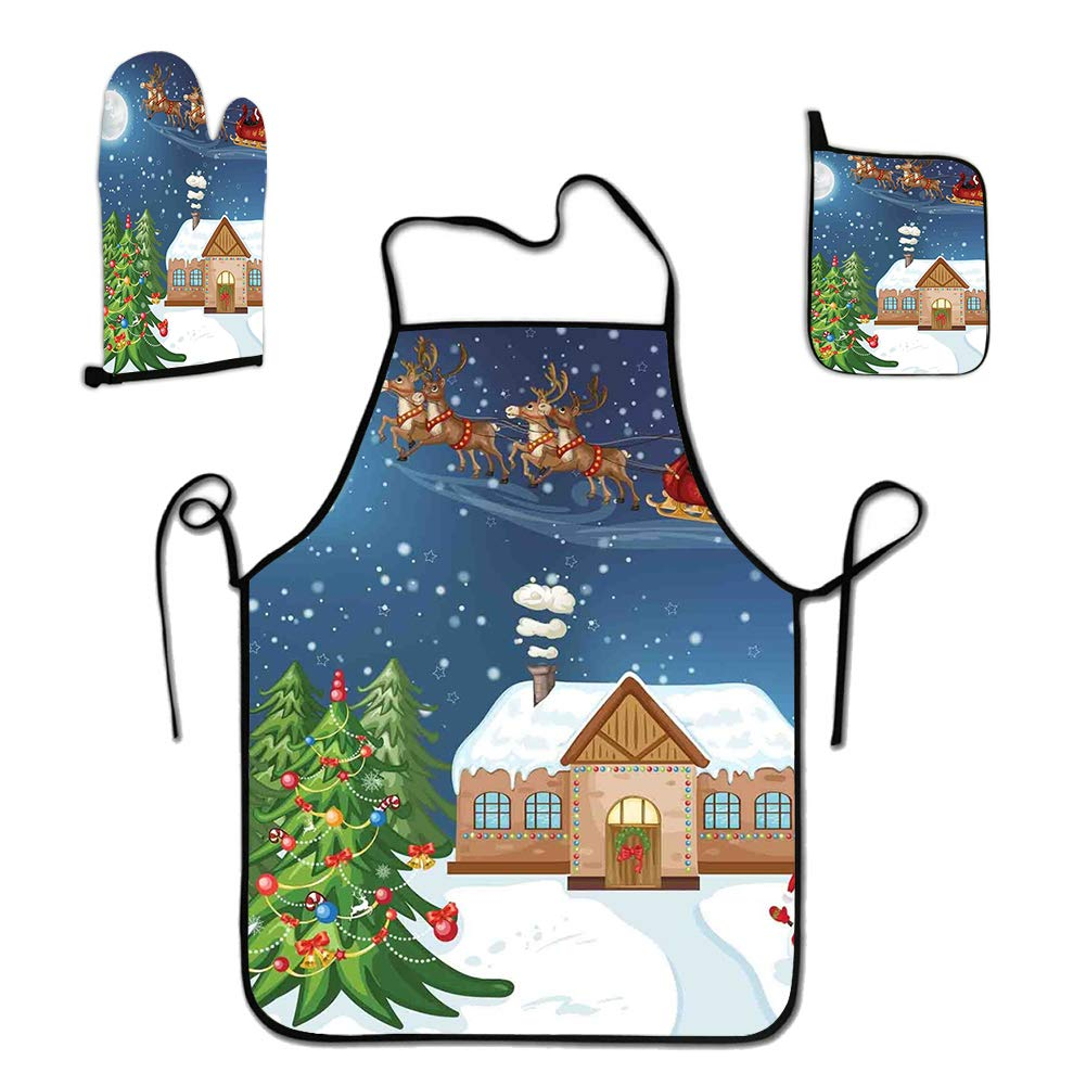 GULTMEE 3-Piece Apron Set Custom Cooking Waist Chef BBQ Adjustable Waterproof Aprons for Women Men Girls, Classical Xmas Scenery Santa Delivering Presents Rudolf The Red Nosed Reindeer