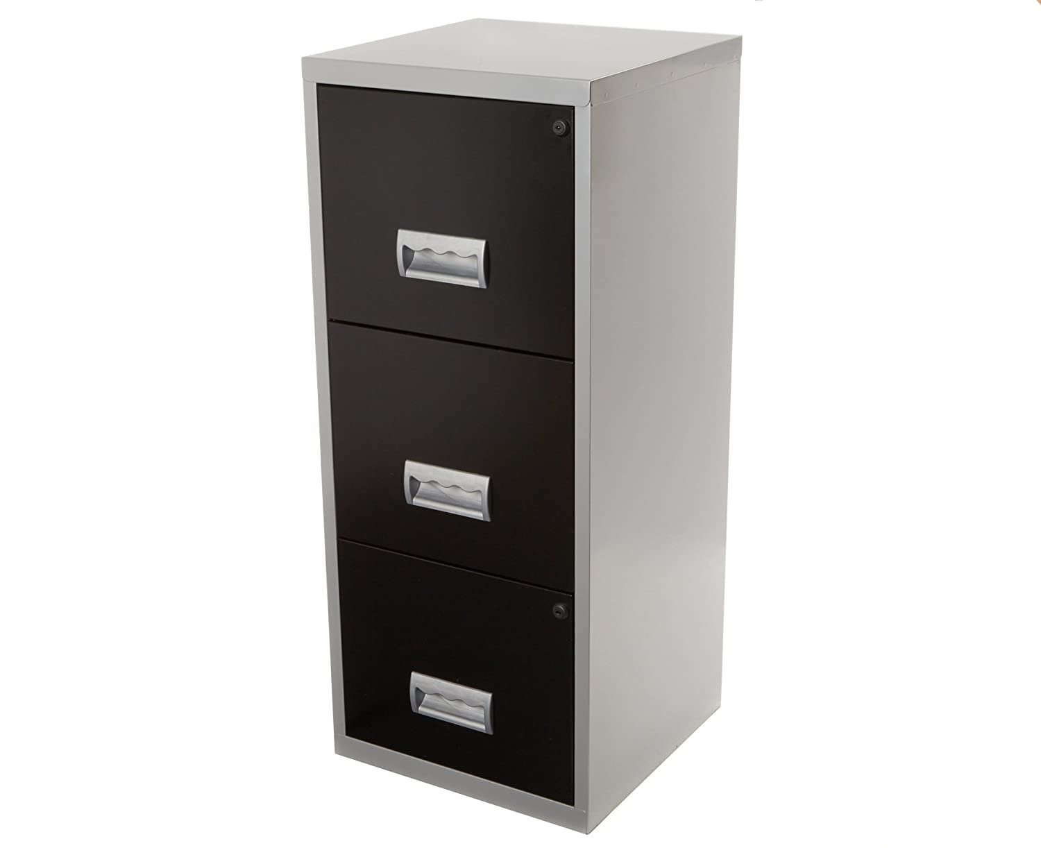 Pierre Henry A4 3 Drawer Maxi Filing Cabinet Silver and Black - Color: Silver/Black