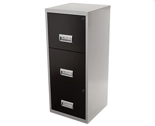 Pierre Henry A4 3 Drawer Maxi Filing Cabinet Silver And Black