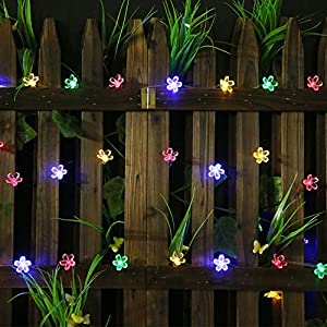 All Star 50 LED Solar-Powered Flower Bulbs Outdoor String Lights, Multi Color