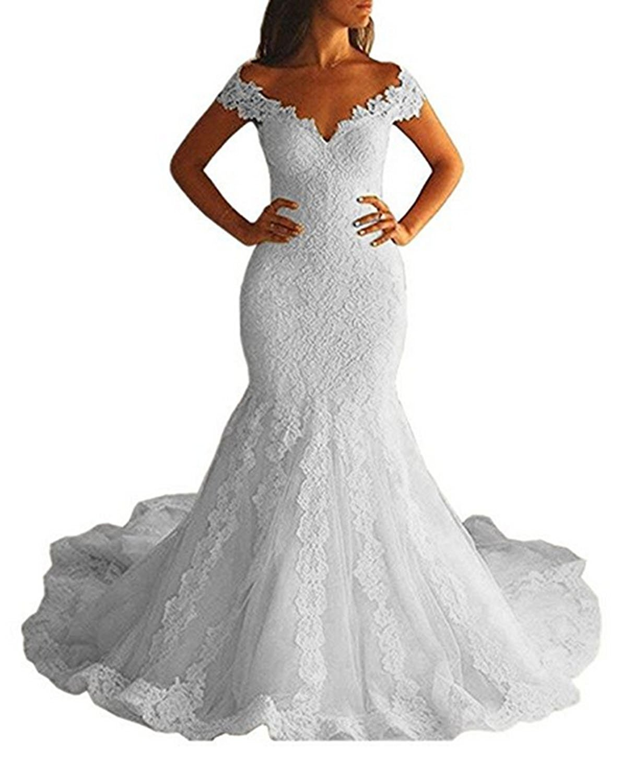 Women\'s Mermaid Wedding Dresses Off Shoulder Plus Size Long Bridal Gowns  White-A US24W