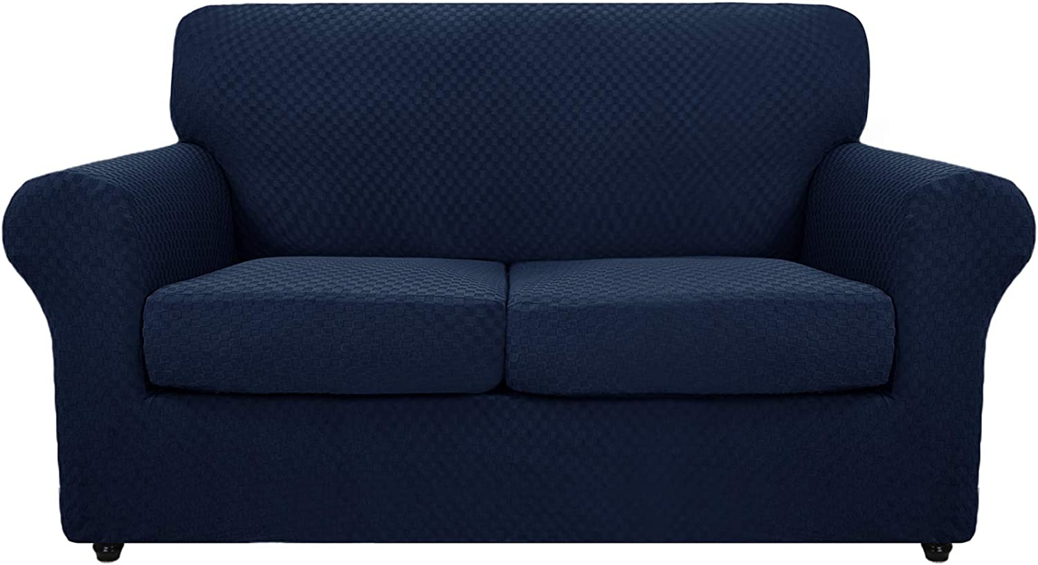 MAXIJIN 3 Piece Newest Jacquard Couch Covers for 2 Cushion Couch Stretch Non Slip Love Seat Couch Cover for Dogs Pet Friendly Elastic Furniture Protector Loveseat Slipcovers (Loveseat, Navy Blue)