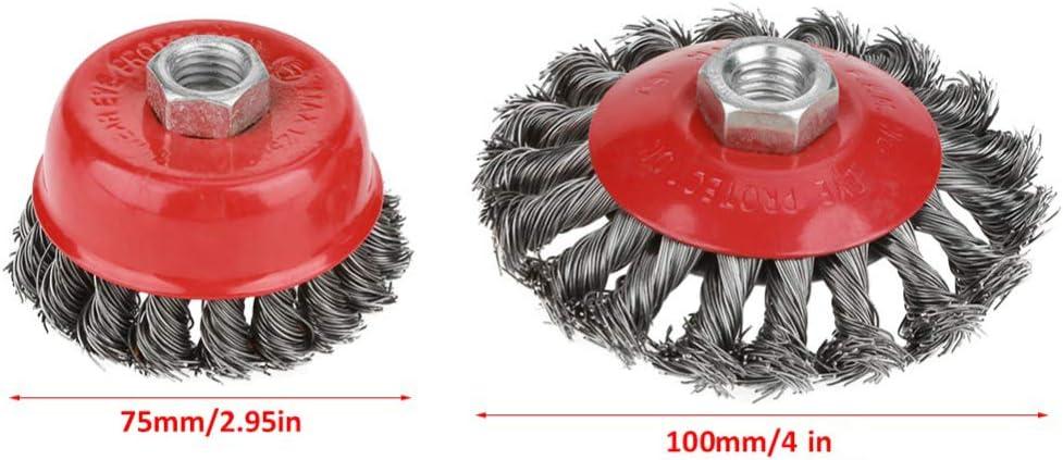 Lot de 4 brosses torsad/ées pour meuleuse dangle 115 mm