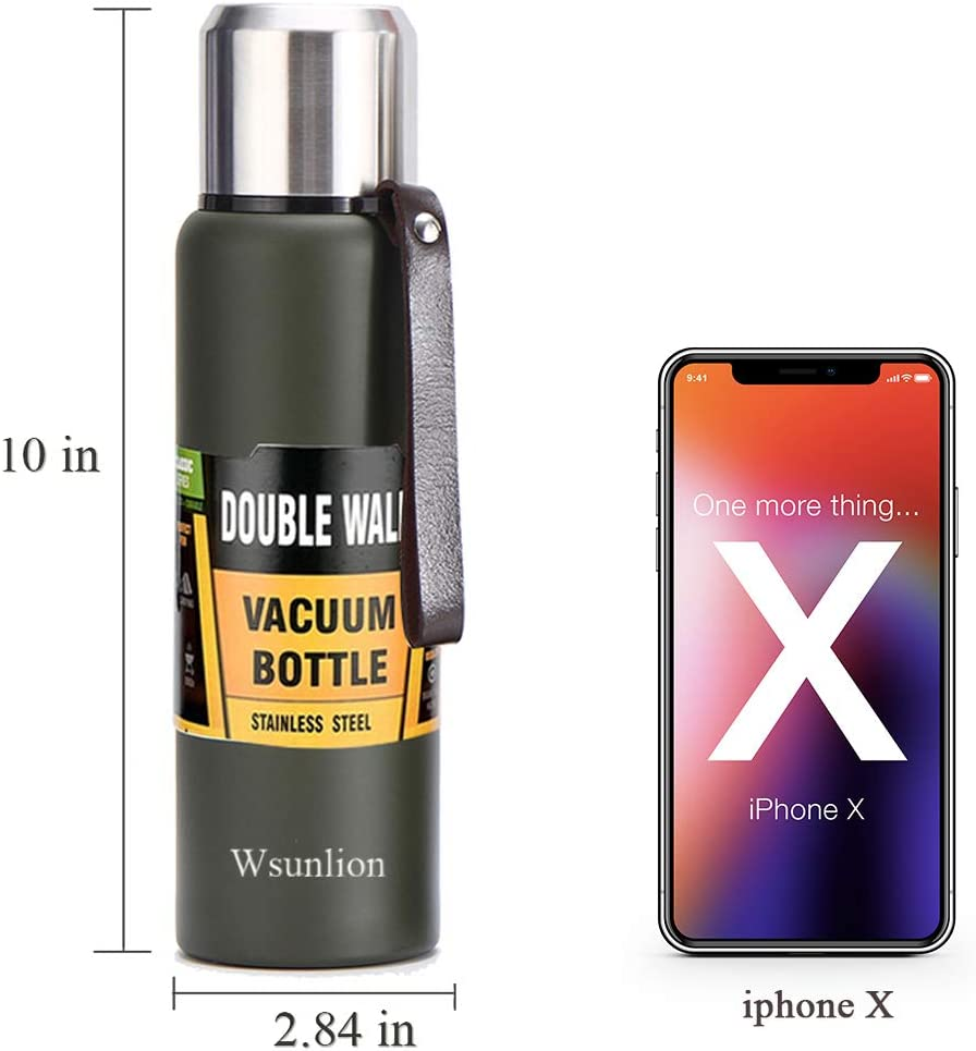 Stainless Steel Vacuum Insulated Water Bottle WSUNLION Sports Water Bottle Drinking Mug for Hot /& Cold Drinks,BPA-Free,Leakproof Great for Travel,Fitness And Outdoor Enthusiasts Black 500ml