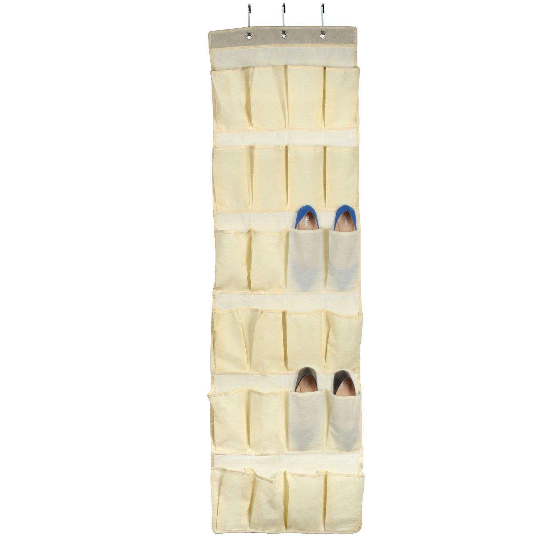 Thinp Organisateur Chaussure Rangement à suspendre derrière de porte 24 Compartiment Avec 3 crochets - Neige / Rouge Foncée