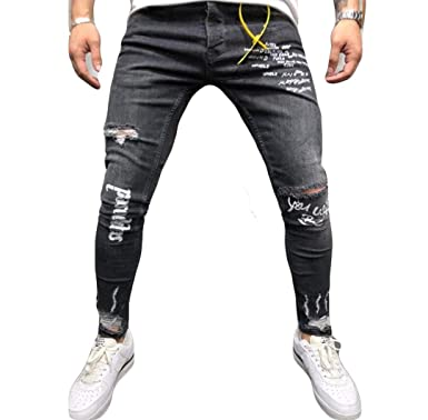 96a8b22a4098 Musuos Men's Ripped Skinny Distressed Destroyed Straight Fit Side Striped  Zipper Jeans with Holes (3XL