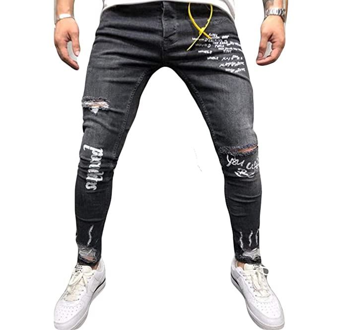Musuos Mens Ripped Skinny Distressed Destroyed Straight Fit Side Striped Zipper Jeans with Holes