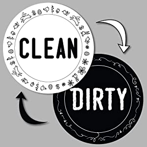 MyPrintOn Dishwasher Clean Dirty Magnet Sign Double Sided Round Cool Design with Bonus Magnetic Plate Universal Magnetic Sign (C) White