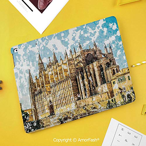Printed Case for Samsung Galaxy Tab S4 10.5 SM-T830 T835 T837 Tablet Kids Safe,Gothic Decor,Big Gothic Building Sea Shore Cathedral of Palma De Mallorca View from Road,Cream Blue - Light Mallorca Three