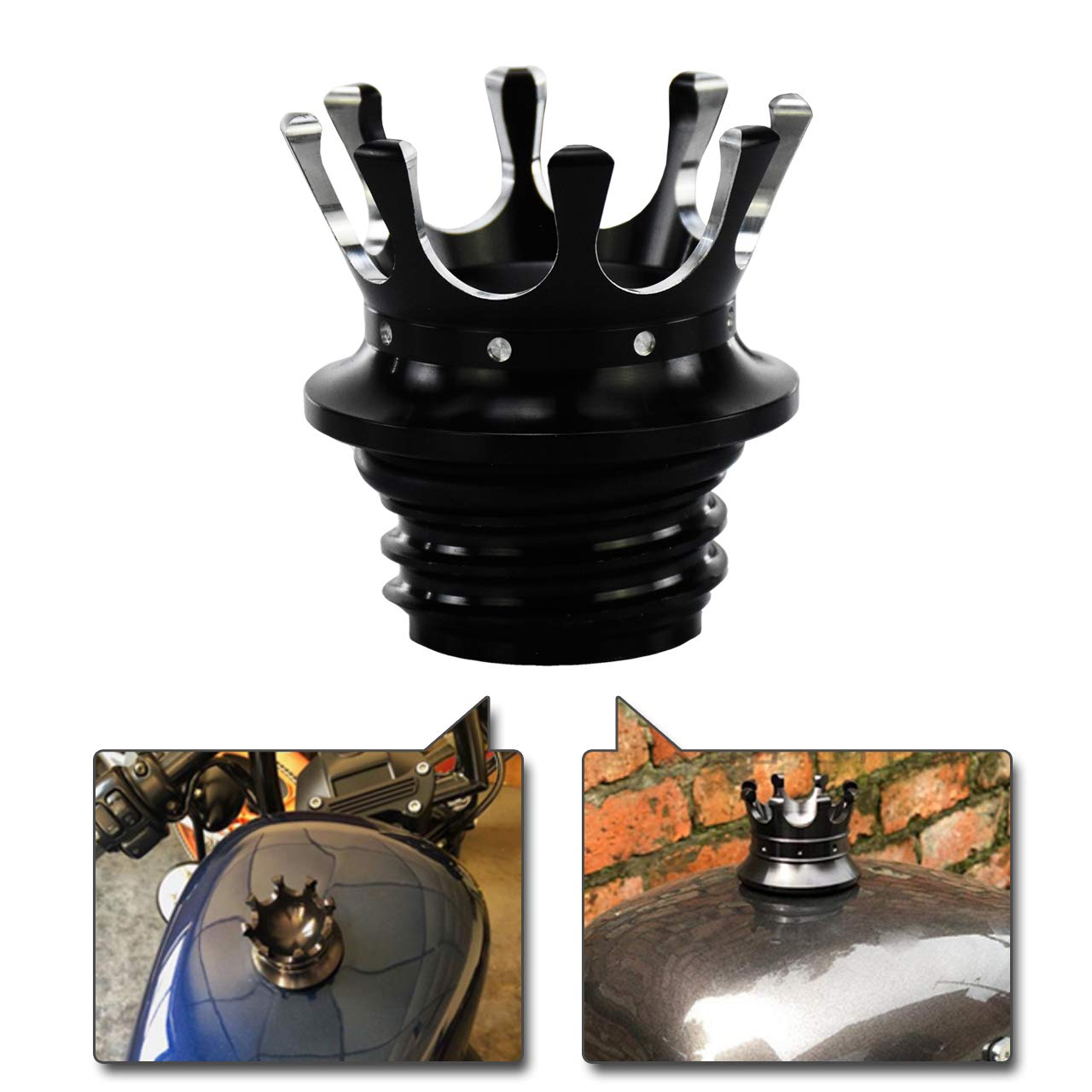 REBACKER King Crown Gas Cap Fuel Tank Right-hand Thread Billet Aluminum Fit For Harley Sportster Dyna Touring Road King Softail Trike Freewheeler FLRT Chrome