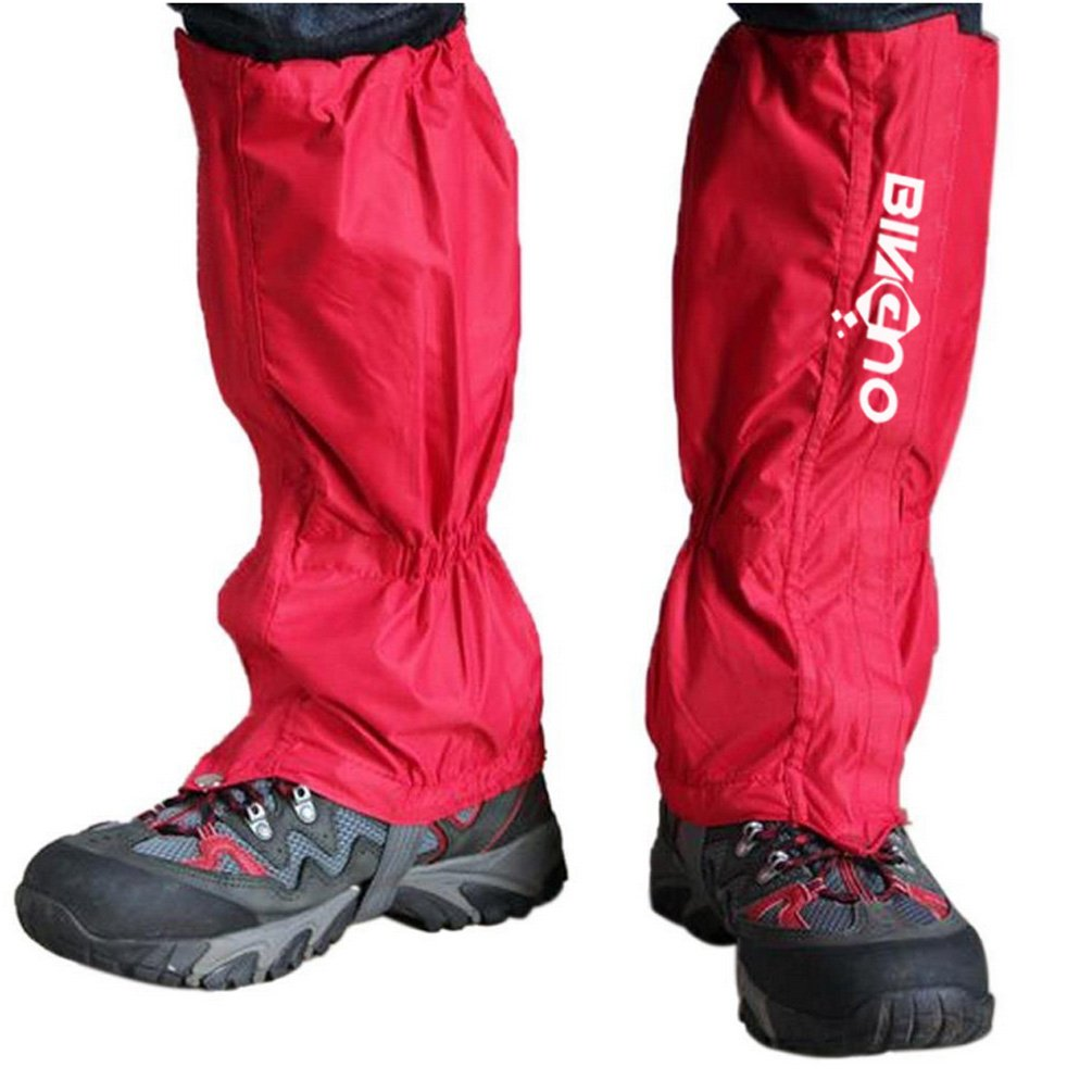 BINGUO Outdoor Essential Unisex Double Sealed Velcro Zippered Closure Waterproof High Leg Gaiters Legging Cover 1 Pair