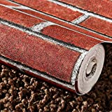 Indian Royals Self-Adhesive Wallpaper Rust Red Brown Brick Contact Paper Fireplace Peel-Stick Wall Stickers Door Stickers Counter Top Liners (200 * 45 cm)