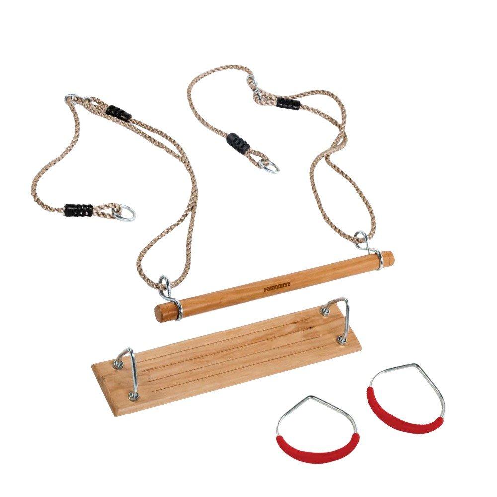 Wood FATMOOSE Gymnastics Equipment Set MultiRider Trapeze Gymnastic Rings Rocking Board for Children Seat 400x110mm