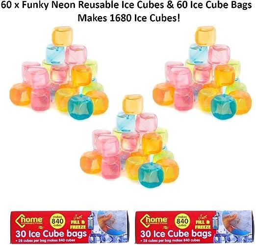 60 cubos de hielo reutilizables y 60 bolsas de hielo para ...