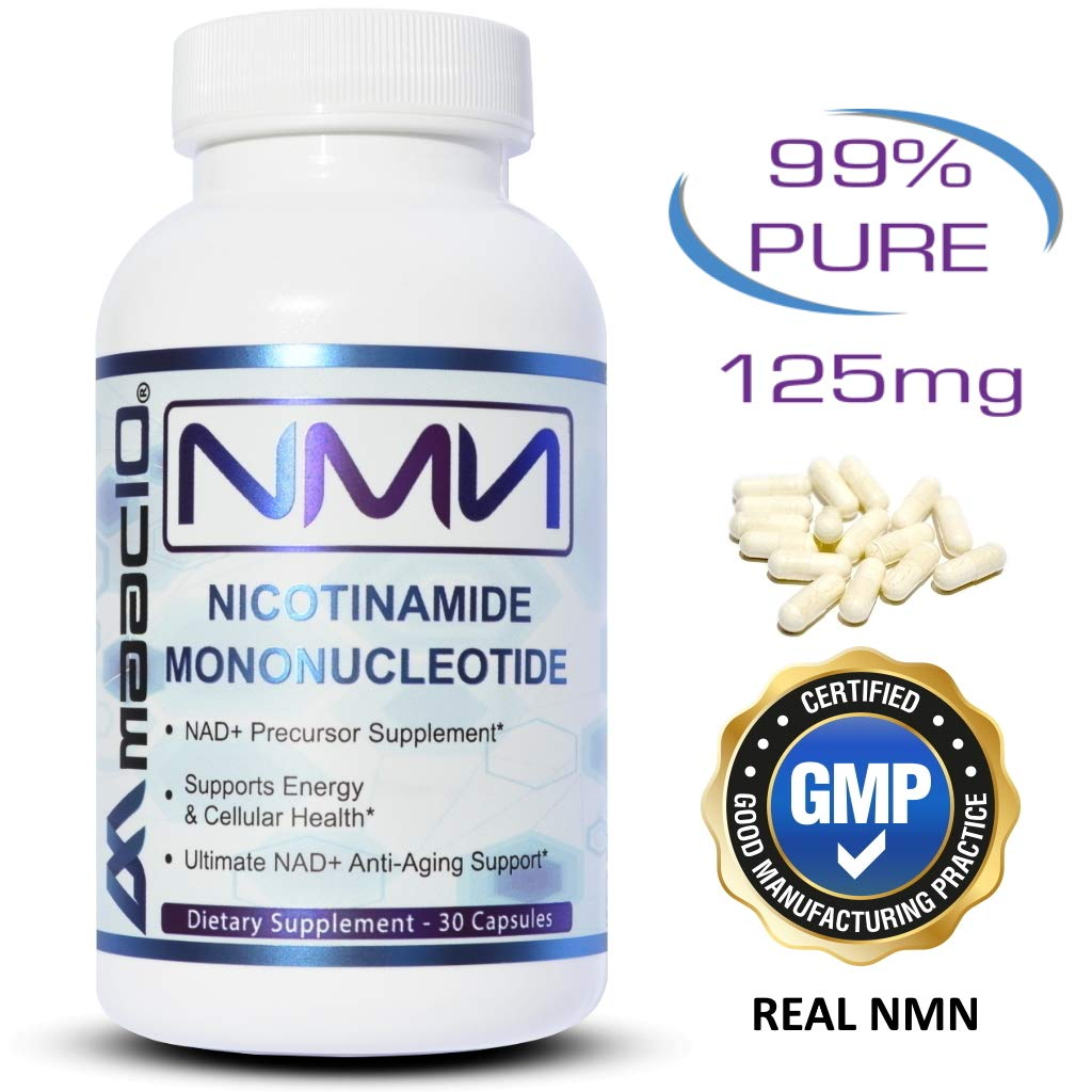 MAAC10 125mg NMN Nicotinamide Mononucleotide Supplement. The Most Powerful NAD+ Precursor More Stable Than Riboside. Supports DNA-Repair, Sirtuin Activation & Energy. (30 Capsules) by MAAC10 Formulas