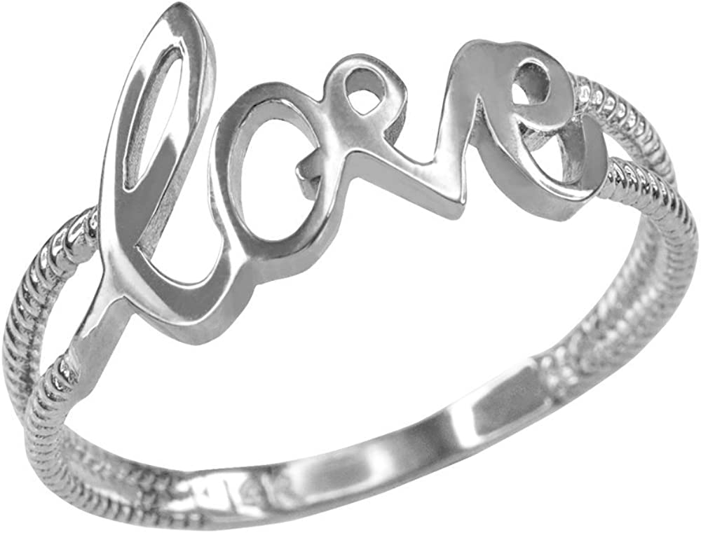 Fine 10k White Gold Polished Rope Band Love Script Ring