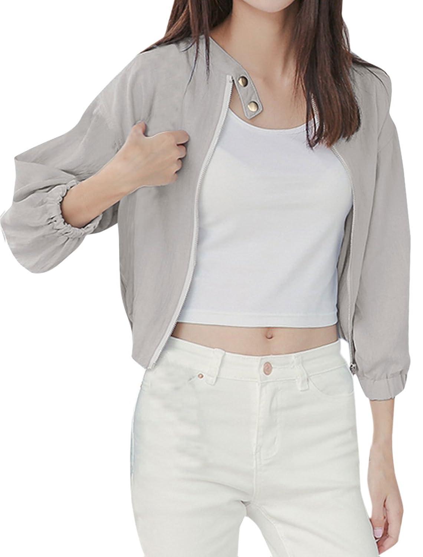 uxcell Women Stand Collar Zip Up Elastic Hem Dolman Sleeve Basic Jacket