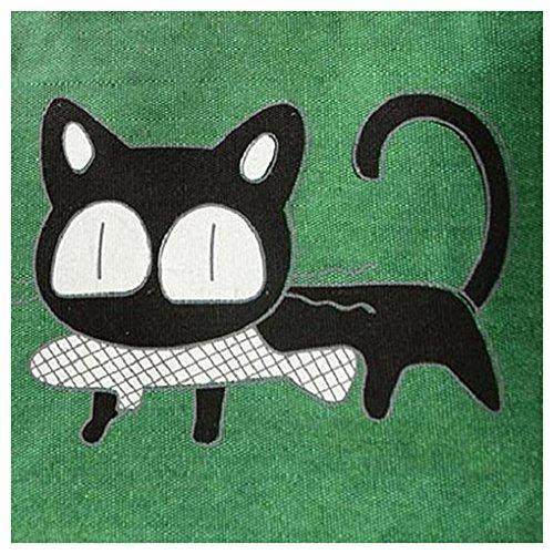 Simpatico Cartone Gatto Borse - SODIAL(R)Modo Simpatico Cartone Animato Borsa Borse Delle Donne Del Gatto Di Tela Spalla Borsa (verde)