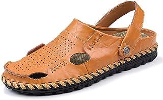 Sandales en Cuir pour Hommes en été Loisir Sandales Plates en Vachette Pantoufles fraîches Respirantes