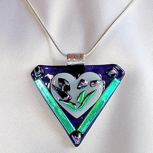 PURPLE PASSION White Heart flower dichroic fused glass jewelry pendant necklace (Pendant Dichroic)