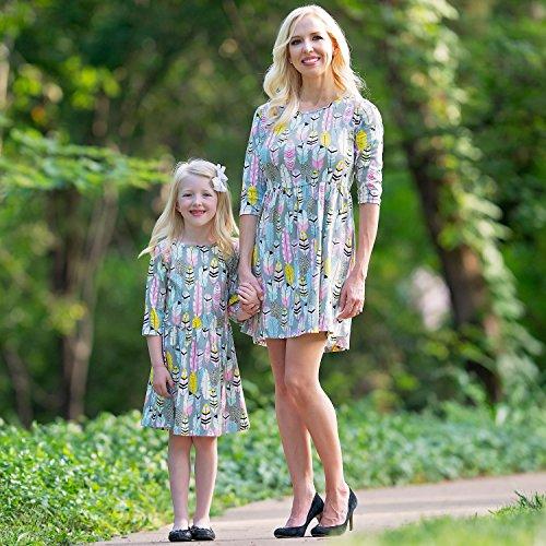 AnnLoren Dress Feather Swing Printed Grey Women's rwOFCqr
