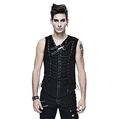 3030018f85b3f Peony ghost Punk Men Sleeveless Vest T-Shirt Gothic Bandage Casual Tank Tops  Leather Strap